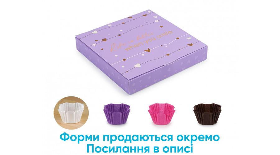 Коробка під цукерки, 16, 185*185*30, бузкового кольору тисненням (5 штук)