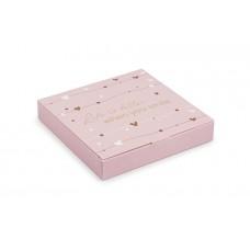 Коробка під цукерки, 16, 185*185*30, рожевий з тисненням