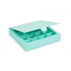 Коробка на 16 цукерок з картону, колір тіфані,185х185х30 мм