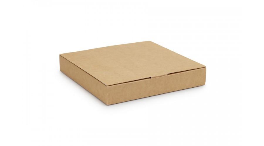 Коробка на 16 цукерок з картону, крафтового кольору, 185х185х30