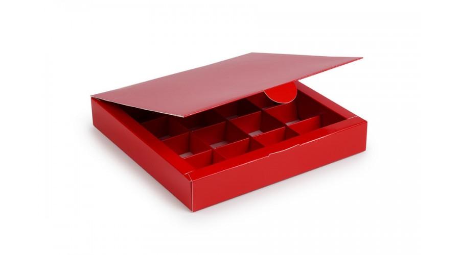 Коробка на 16 цукерок з картону, червоного кольору. 185х185х30