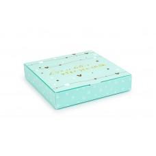 Коробка під цукерки, 16, 185*185*30, тіфані, з тисненням