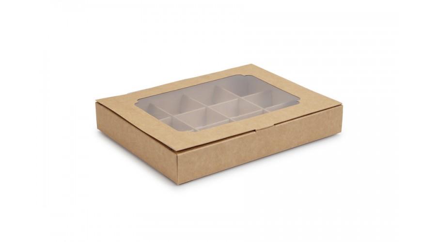 Коробка на 12 цукерок, крафтового кольору, 200х156х30 мм