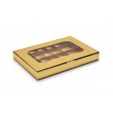 Коробка для 24 цукерок, золотиста, 270х185х30 мм