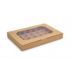 Коробка на 24 цукерки з крафт картону, 270х185х30
