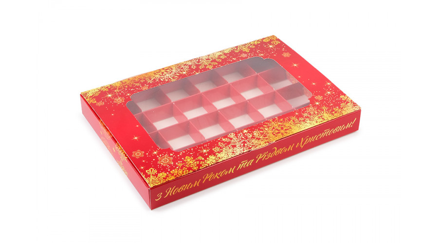 Коробка на 24 цукерки, новорічна, 270х185х30 мм