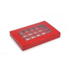 Коробка на 24 цукерки, червоний колір, 270х185х30 мм