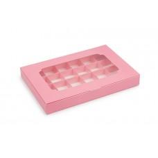 Коробка на 24 цукерки, рожева, 270х185х30 мм