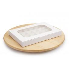 Коробка на 24 конфеты, белого цвета, 270х185х30