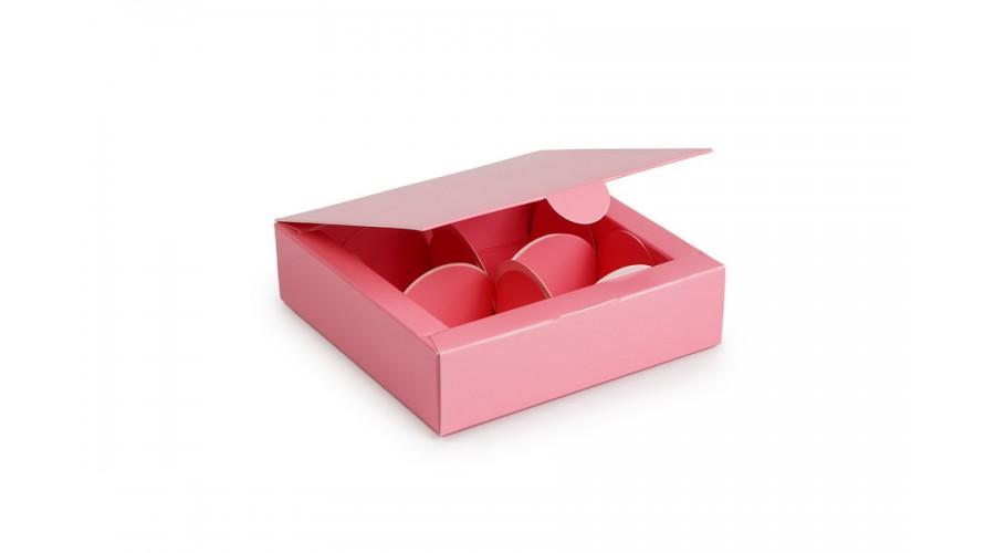 Коробка на 4 цукерки, рожевого кольору, 112х112х30 мм