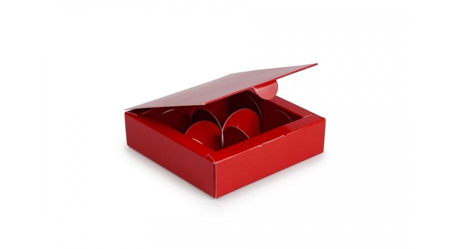 Коробка на 4 цукерки, червоного кольору, 112х112х30 мм