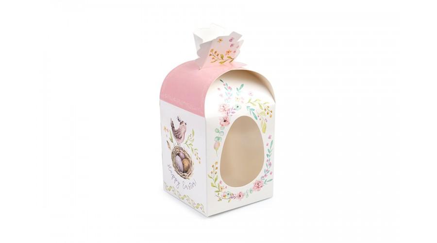 """Пасхальна упаковка """"Рожева пташка"""", 6 граней, мішечок, 110х110х140 мм"""