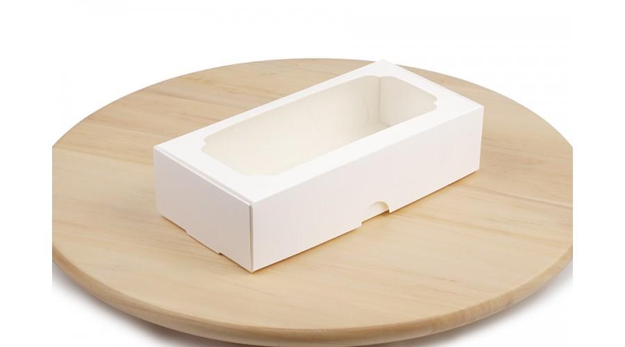 Коробка для макарон, зефіра і десертів, біла, 200х100х50 мм