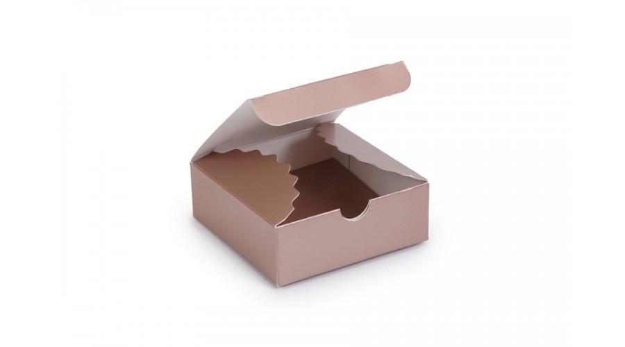 Коробка для цукерок, 4, 83х83х30 (міні-бокс), коричневий металік