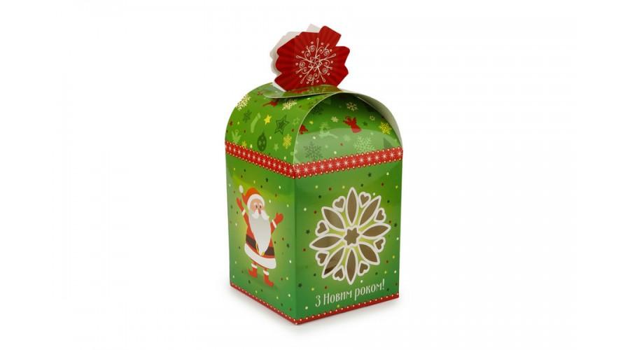 """Упаковка для новорічних подарунків, """"Зелений мішечок зі сніжинкою"""", 110х110х140 мм"""