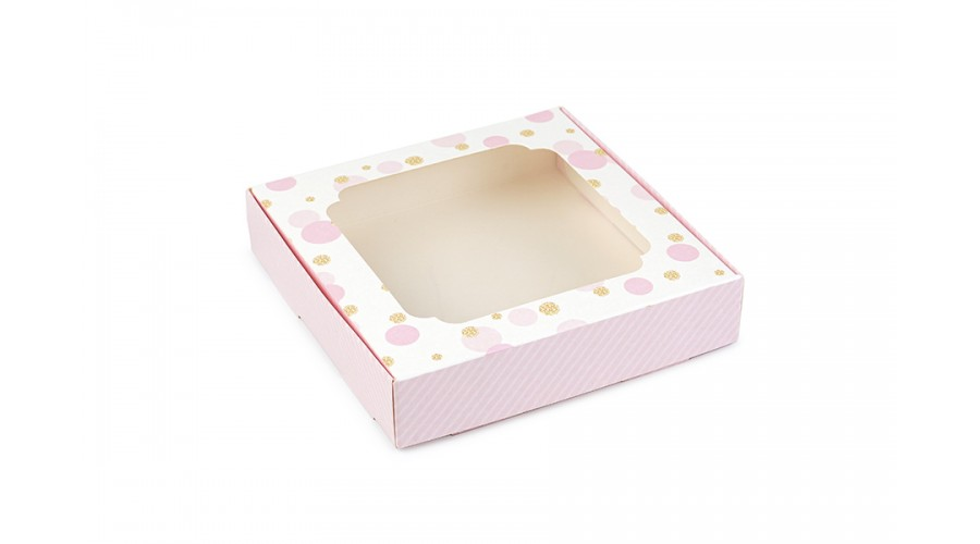 Коробка для пряників, горохи зі смужками (рожевий) 150х150х30 мм
