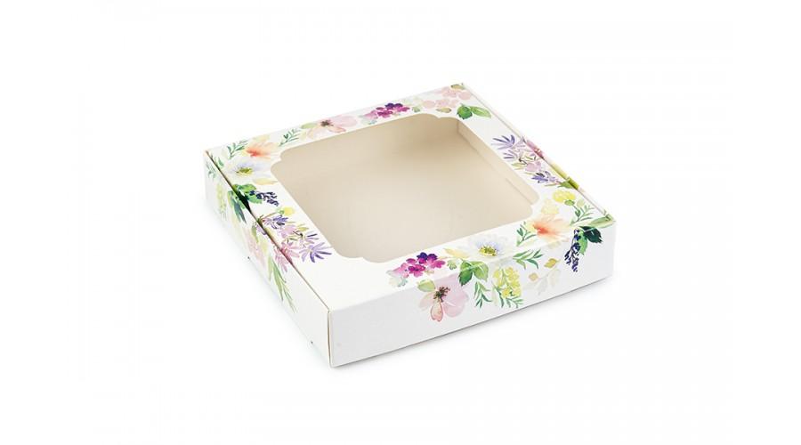 """Коробка для пряників,  з принтом """"Квіти"""", 150х150х30 мм"""