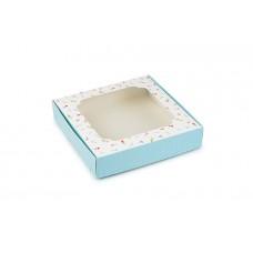 """Коробка для пряників,  з принтом """"Квіти"""" (блакитний), 150х150х30 мм"""