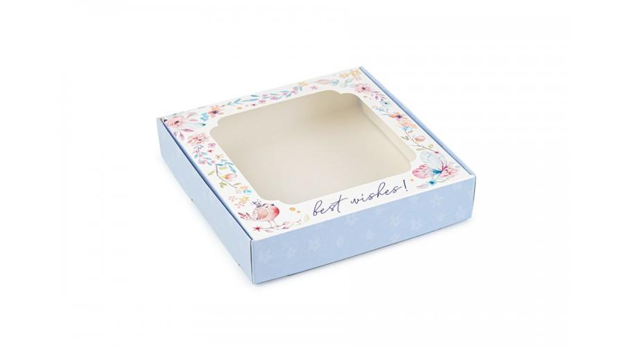 """Коробка для пряників, з принтом """"Пташка"""" (блакитний), 150х150х30 мм"""