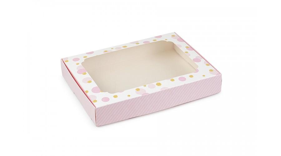 Коробка для пряників, горох зі смужками, рожевий, 150х200х30 мм