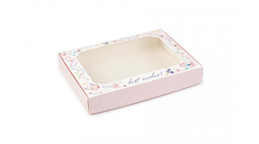 """Коробка для пряників, з принтом """"Пташка"""" (рожевий), 150х200х30 мм"""