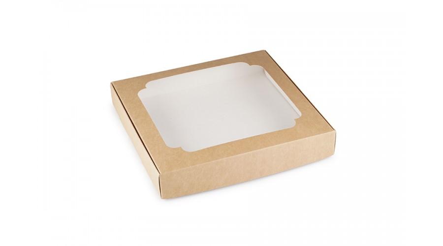 Коробка для пряників, крафт, 195х200х30 мм