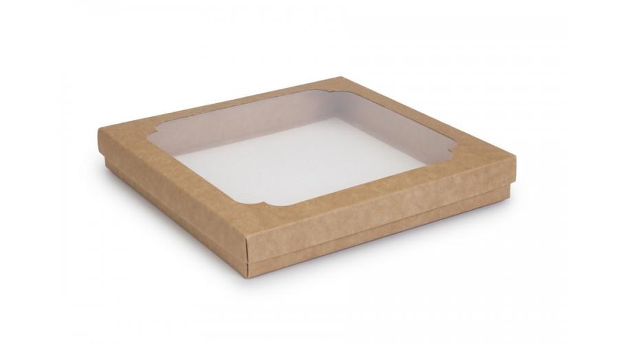 Коробка для пряників, крафтового кольору, 210х210х30 мм