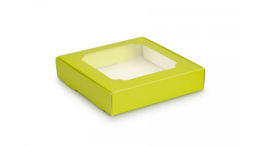 Коробка для пряників, лимонного кольору, 150х150х30 мм