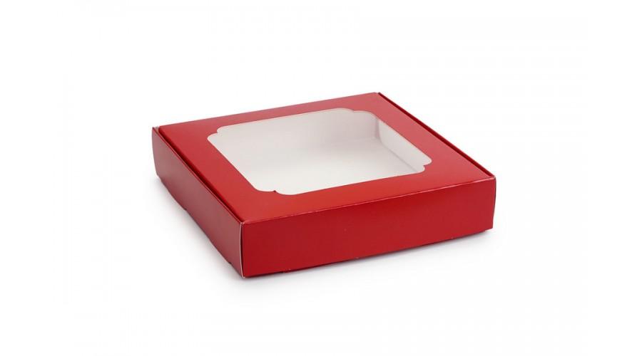 Коробка для пряників, червоного кольору, 150х150х30 мм