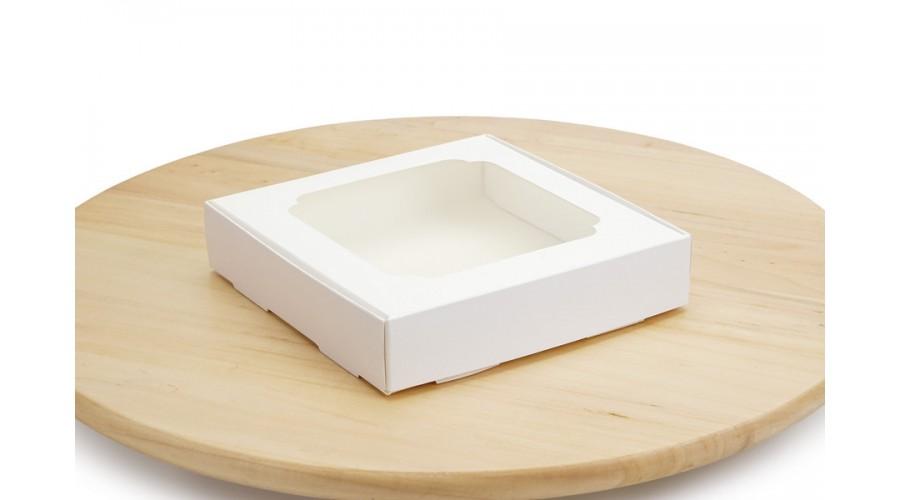 Коробка для пряників, білого кольору, 150х150х30 мм
